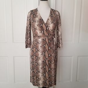Diane Von Furstenberg Silk Python Print Wrap Dress